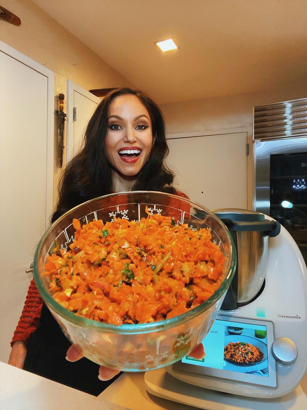 spiced carrot salad raw vegan recipe plant-based health coach cheryl martinez thermomix tm6