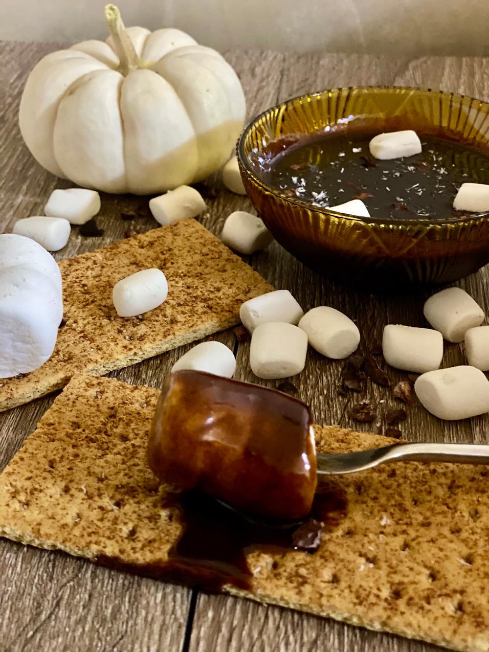 vegan chocolate dip halloween recipe plant-based graham crackers pumpkin marshmallows caramel