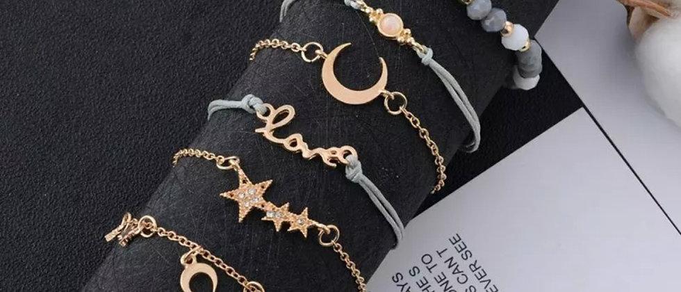 Grey Love Star Moon Bracelets Set Of 6