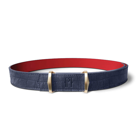 La ceinture Julien cuir et crocodile bleu marine/rouge
