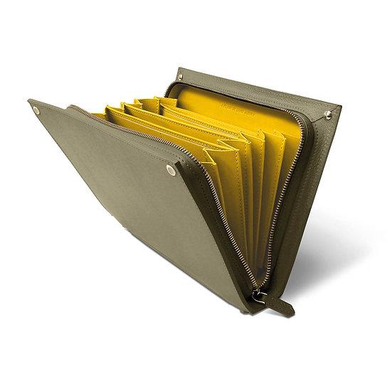 René leather khaki/yellow