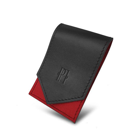Gavroche en cuir noir/rouge