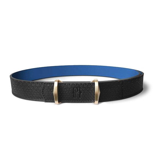 La ceinture Julien cuir et python noir/bleu roi