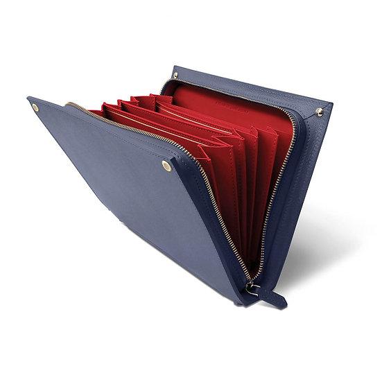 René leather navy blue/red