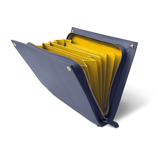 René cuir bleu marine/jaune