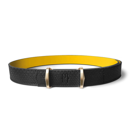 La ceinture Julien cuir et python noir/jaune
