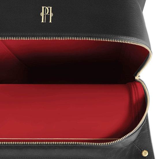 Mickael noir cuir et autruche, intérieur rouge