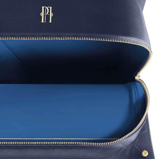 Mickael bleu marine cuir et autruche, intérieur bleu roi