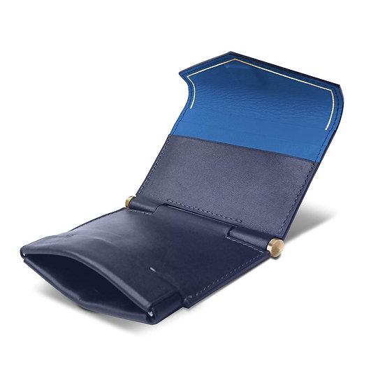 Gustave en cuir bleu marine/bleu roi