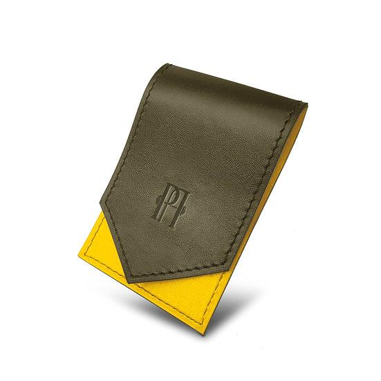 Gavroche en cuir kaki/jaune