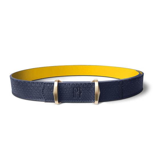 La ceinture Julien cuir et python bleu marine/jaune
