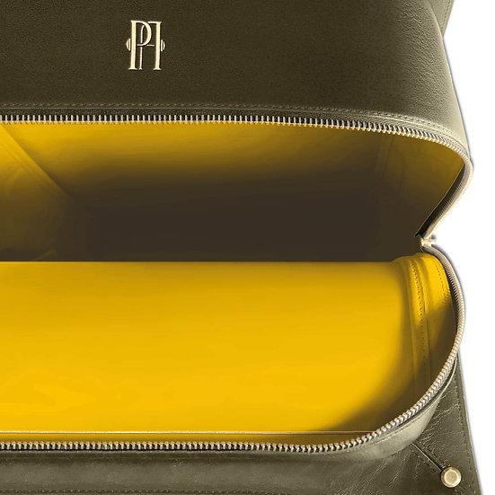 Mickael kaki cuir et autruche, intérieur jaune