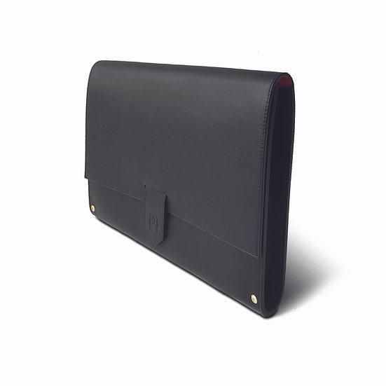 BALTHAZAR  cuir noir/rouge