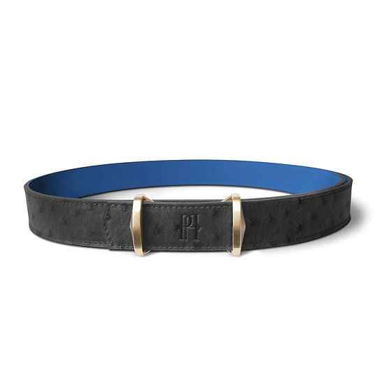 La ceinture Julien cuir et autruche noir/bleu roi