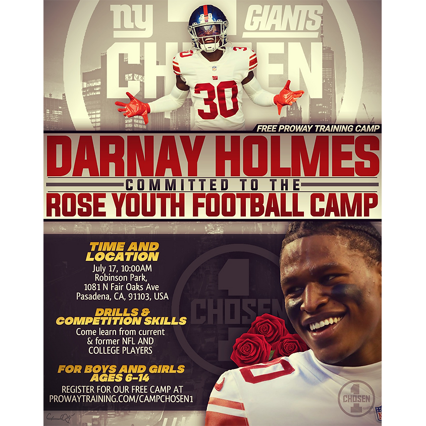 Darnay Holmes Committed to the Rose 🌹 Youth FREE Football Camp