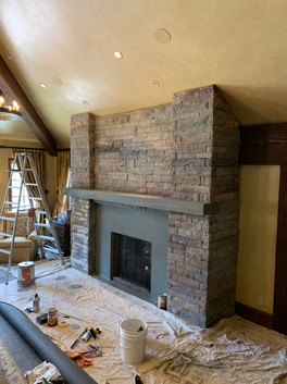 Custom faux finished fireplace (before)