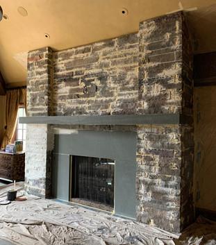Custom faux finished fireplace (process))
