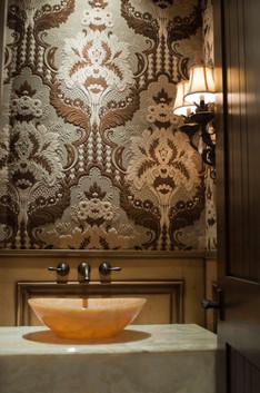 Upholstered powder bathroom