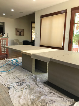 Upholstered custom dining room table (process)