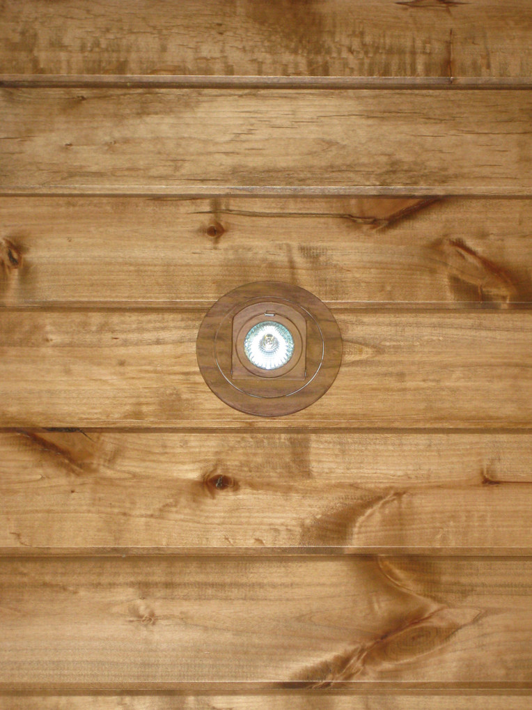 Blending can lights with wood ceiling