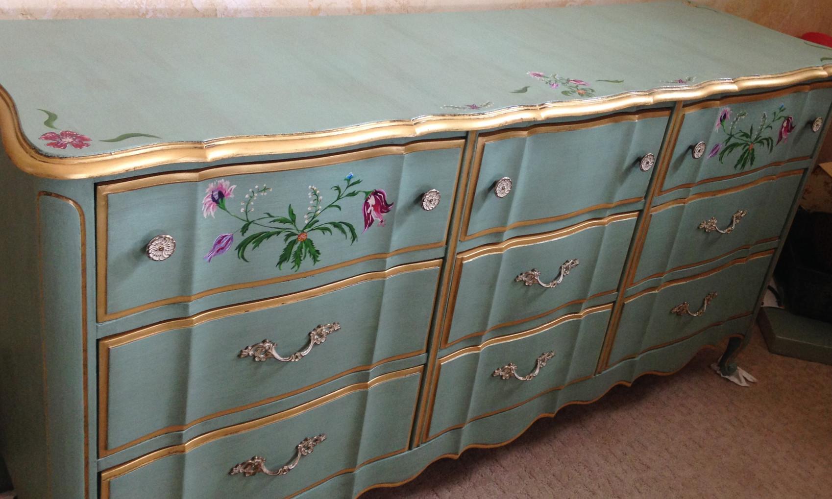 Custom painted bureau
