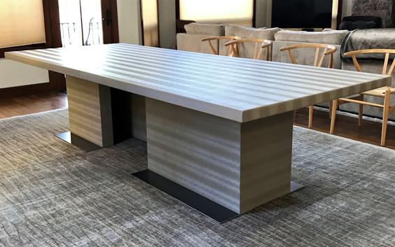 Upholstered custom dining room table