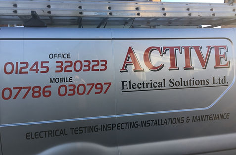 Company van belonging to electrician at Active Electrical Solutions - liveried with all contact details
