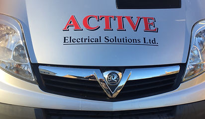 Liveried company van showing the Active Electrical Solutions motif for advertising purposes.