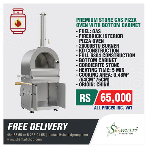Premium Gas Pizza Oven With Bottom Cabinet