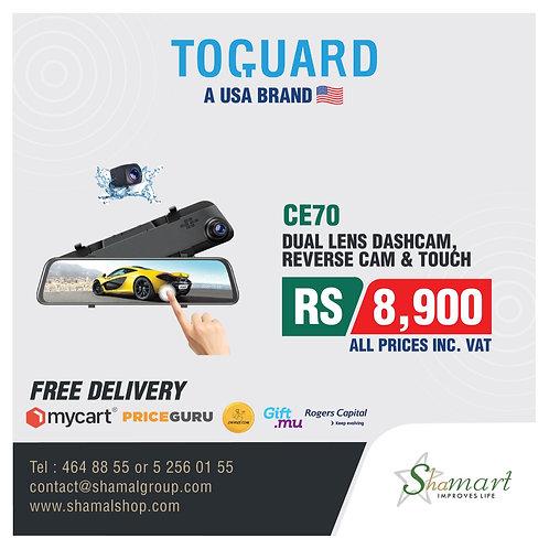 Toguard CE70 2.5K Mirror Dash Cam Full Touch Screen
