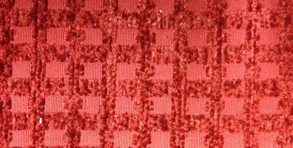 Red Upholstery Fabric - Grid Texture