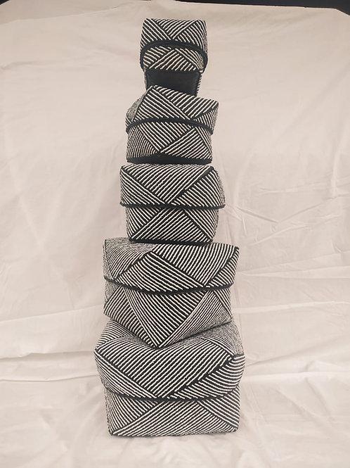 Beaded Basket Black & White