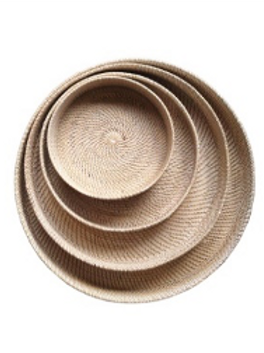 White Washed Rattan Tray