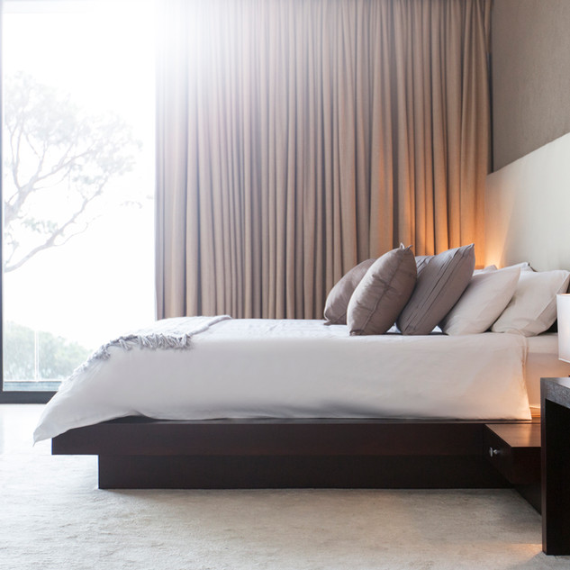bedroom with curtians