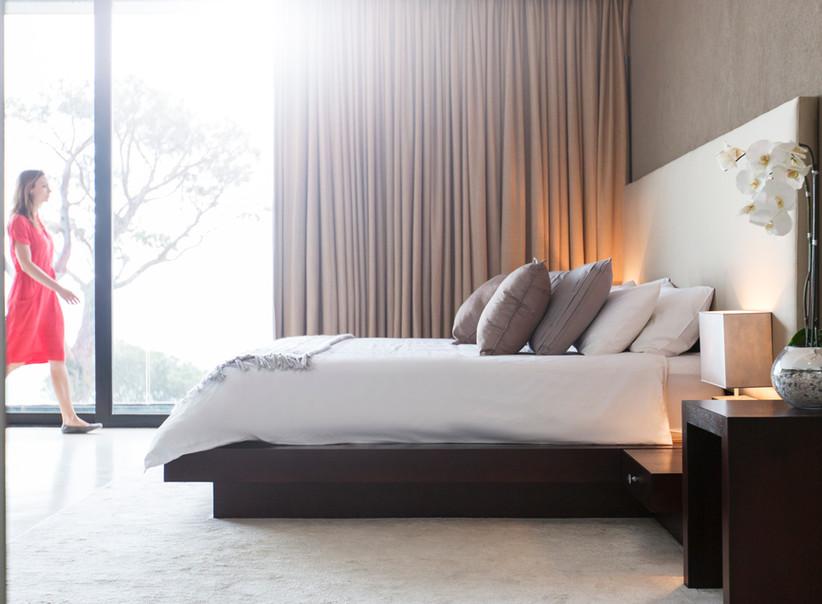 camera da letto con curtians