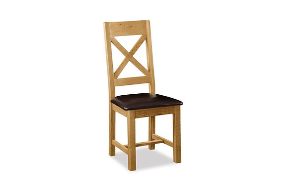 Brecon Cross Back Chair with Covered Seat