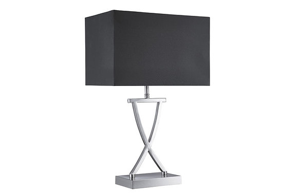 Searching Lighting Cross Satin Silver Table Lamp