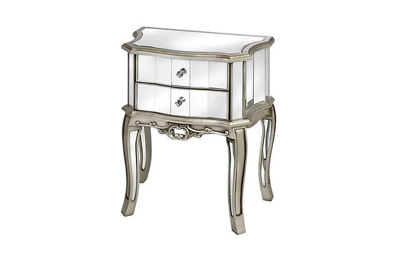 Argente Mirrored Two Drawer Bedside