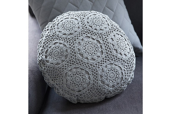 Magda Crochet Round Cushion White
