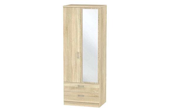 Devon 2ft6in Tall 2 Drawer Double Wardrobe with Mirror