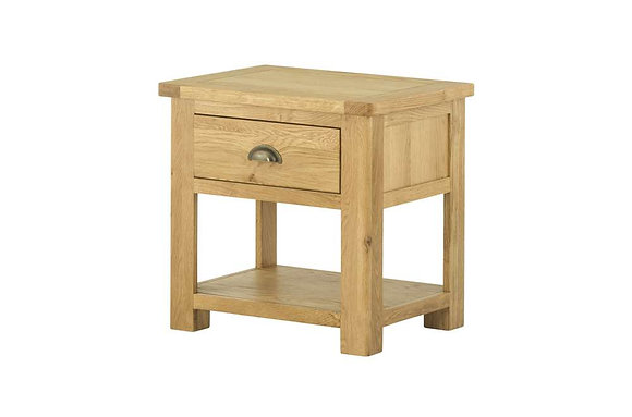 Portland Oak Lamp Table with Drawer