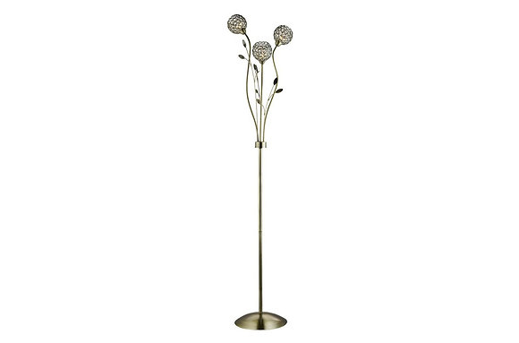 Searchlight Lighting Bellis Antique Brass Floor Lamp, Clear Shades