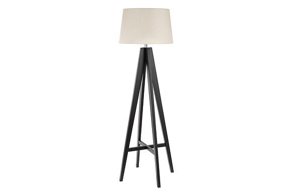 Searchlight Lighting Tripod Wood Floor Lamp with Cream Shade