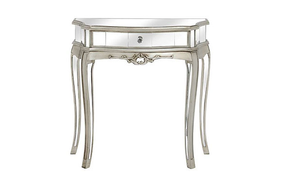 Argente Mirrored One Drawer Half Moon Console Table