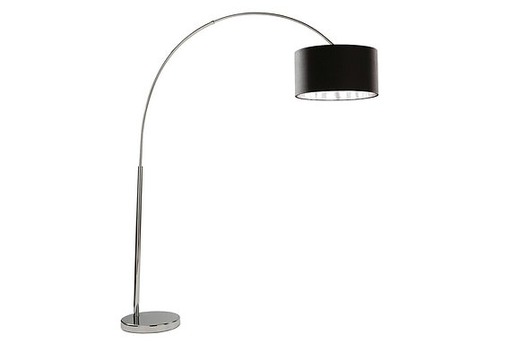Searchlight Lighting Arcs Chrome Floor Lamp with Black Shade