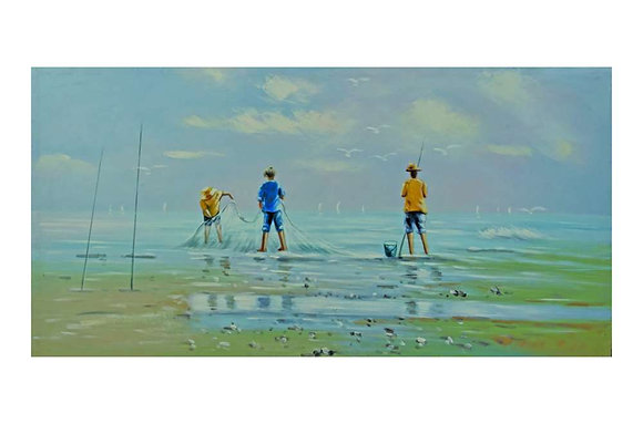 Beach At Sundown Oil Painting
