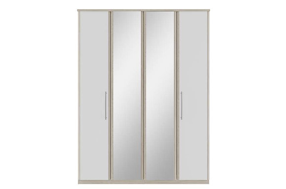 Kingstown Azure Tall 4 Door Bi-fold Wardrobe with Mirrors