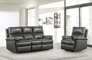 Bailey Leather Recliner Sofa & Chairs | Grey Swatch