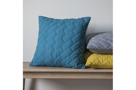 Bricks Quilted Cushion Teal