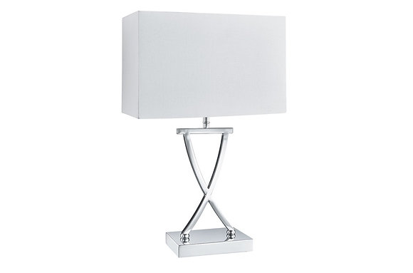 Searching Lighting Cross Chrome Table Lamp with White Shade